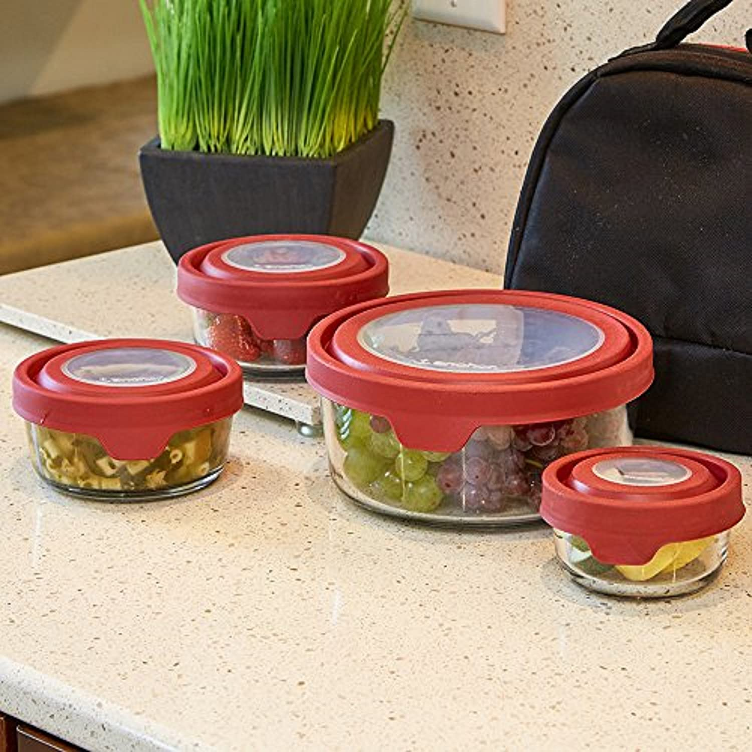Anchor Hocking TrueSeal Glass Food Storage Containers with Lids, Green, 10-Piece Set 12207ECOM