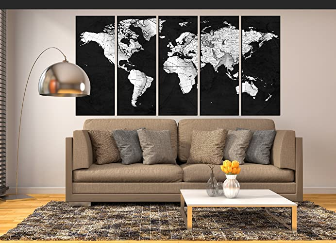 Amazon black and white world map grey vintage world map wall black and white world map grey vintage world map wall art canvas print extra large gumiabroncs Gallery