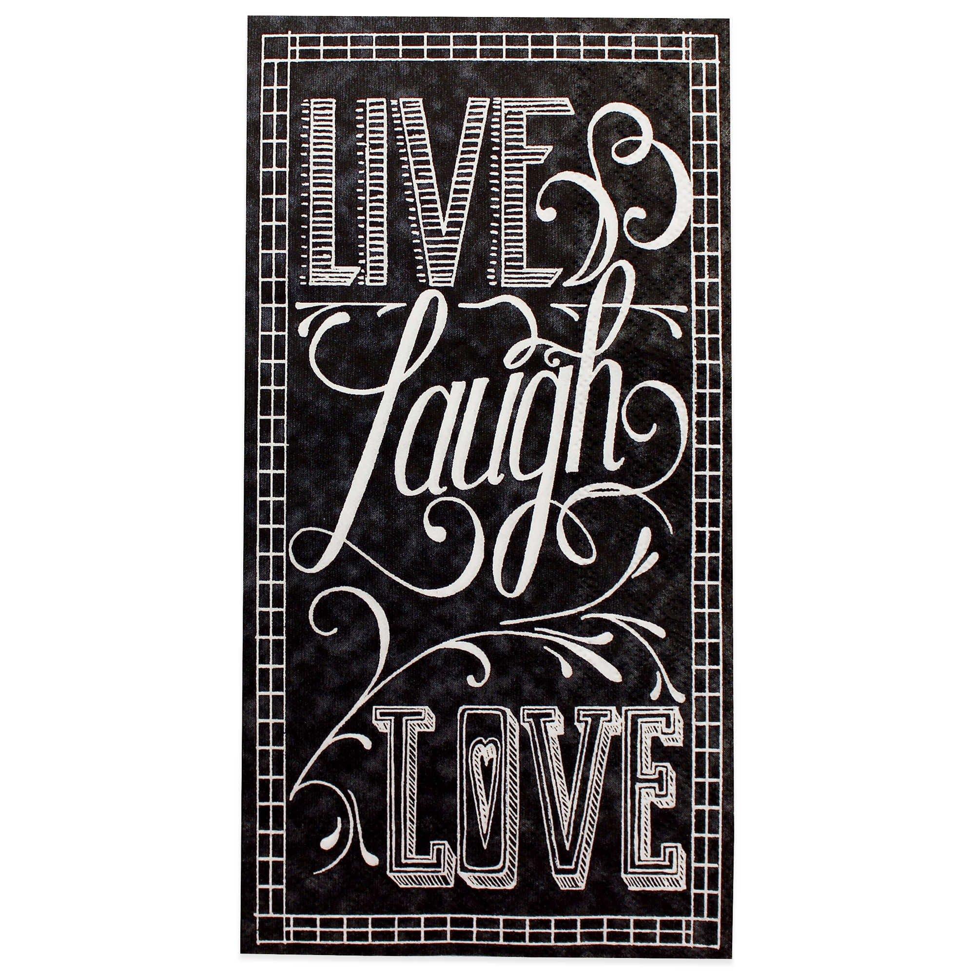 Live Laugh Love Chalkboard 16-Count Paper Guest Towels