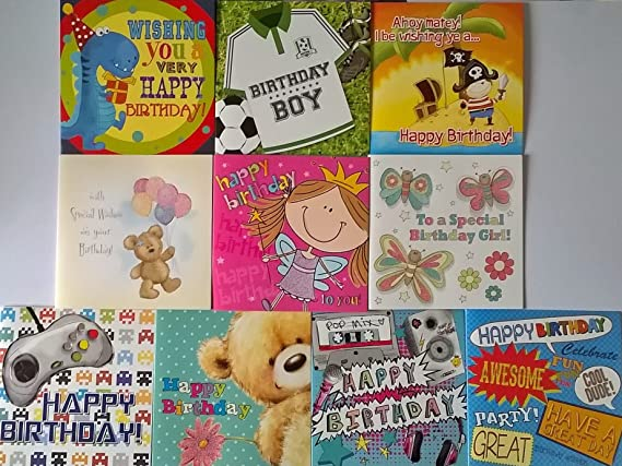 Pack de 10 tarjetas de felicitación de cumpleaños infantil para ...