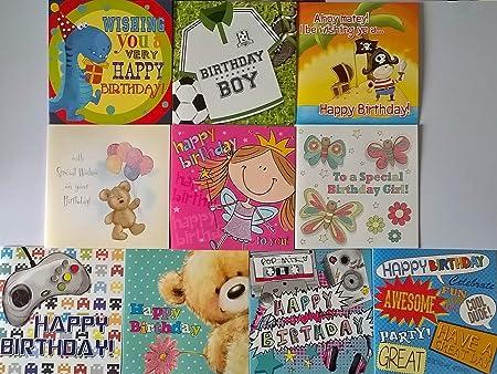 Pack de 10 tarjetas de felicitación de cumpleaños infantil ...
