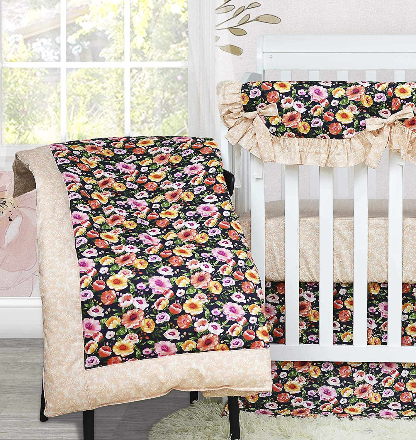 Baby Shower Gift Brandream Baby Girls Crib Bedding Sets with Bumper Pad 11 Pieces Vintage Nursery Floral Bedding 100/% Cotton Chic Cradle Set Black//Coral