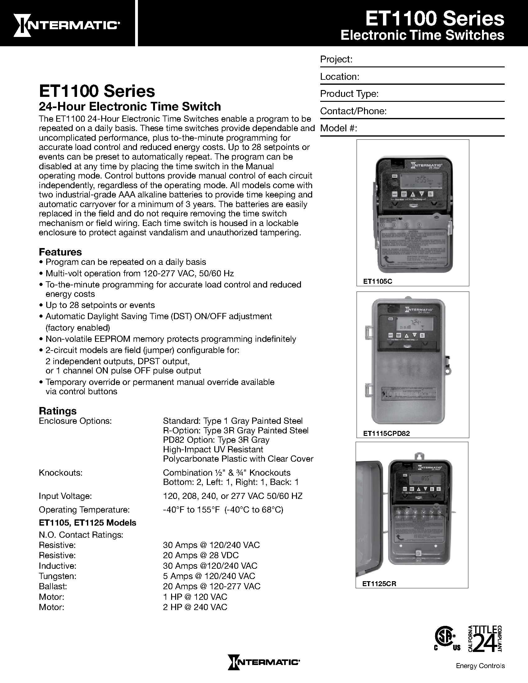 Intermatic ET1125C 24-Hour 30-Amp Electronic Time Switch, 120-277 VAC, NEMA 1 by Intermatic (Image #2)