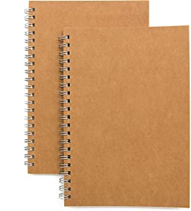 Soft Cover Spiral Notebook Journal 2-Pack, Blank Sketch Book Pad, Wirebound Memo Notepads Diary Notebook Planner with Unlined Paper, 100 Pages/ 50 Sheets, 7.5 inch x 5.1 inch (Brown)