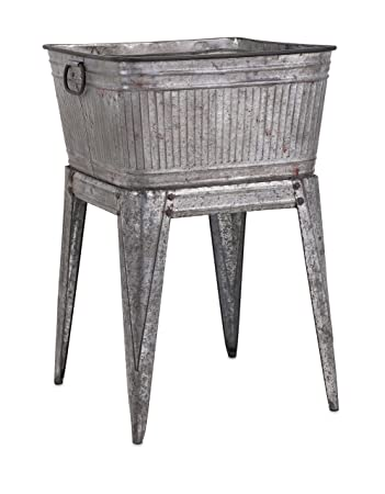 IMAX 65345 Perryman Galvanized Tub On Stand. Lightweight Iron Beverage Tub    Use For Keeping