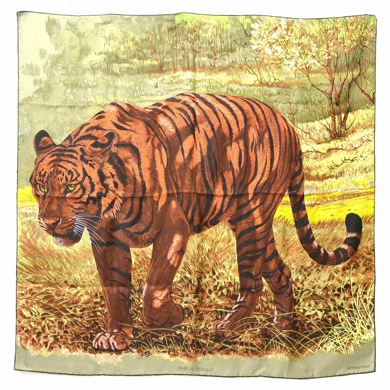 エルメス HERMES TIGER DU BENGALE ベンガルの虎 スカーフ ストール ショール シルク 絹 カーキ ブラウン 茶 中古 B07DZ9CTHV  -