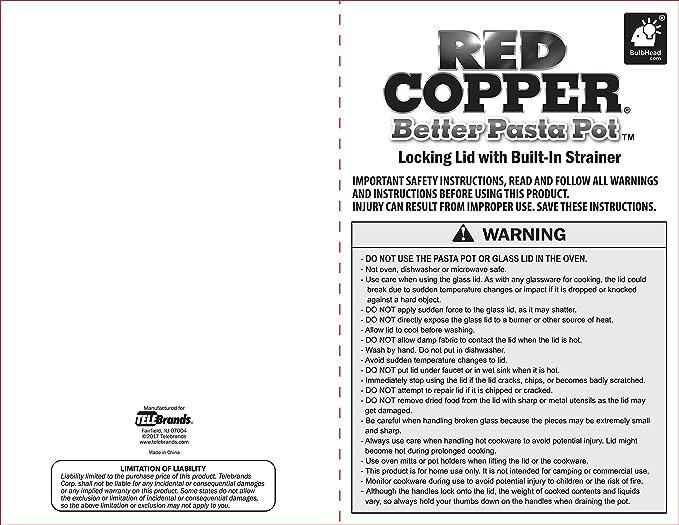 Amazon.com: Olla para pasta Red Copper, con sistema de asas ...