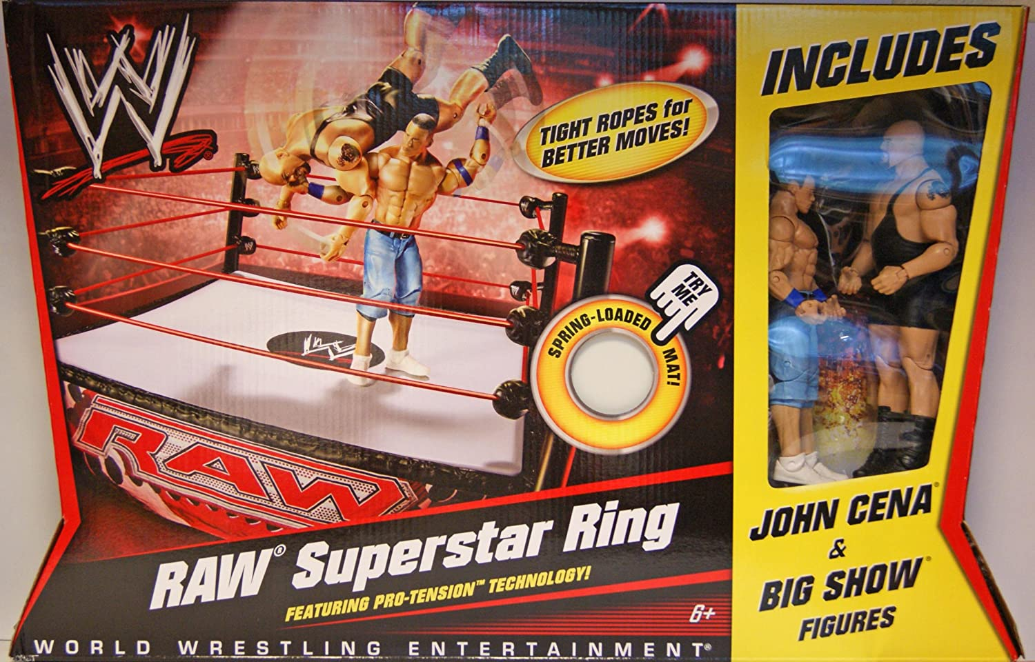 amazon com mattel wwe wrestling ring raw superstar ring cena big