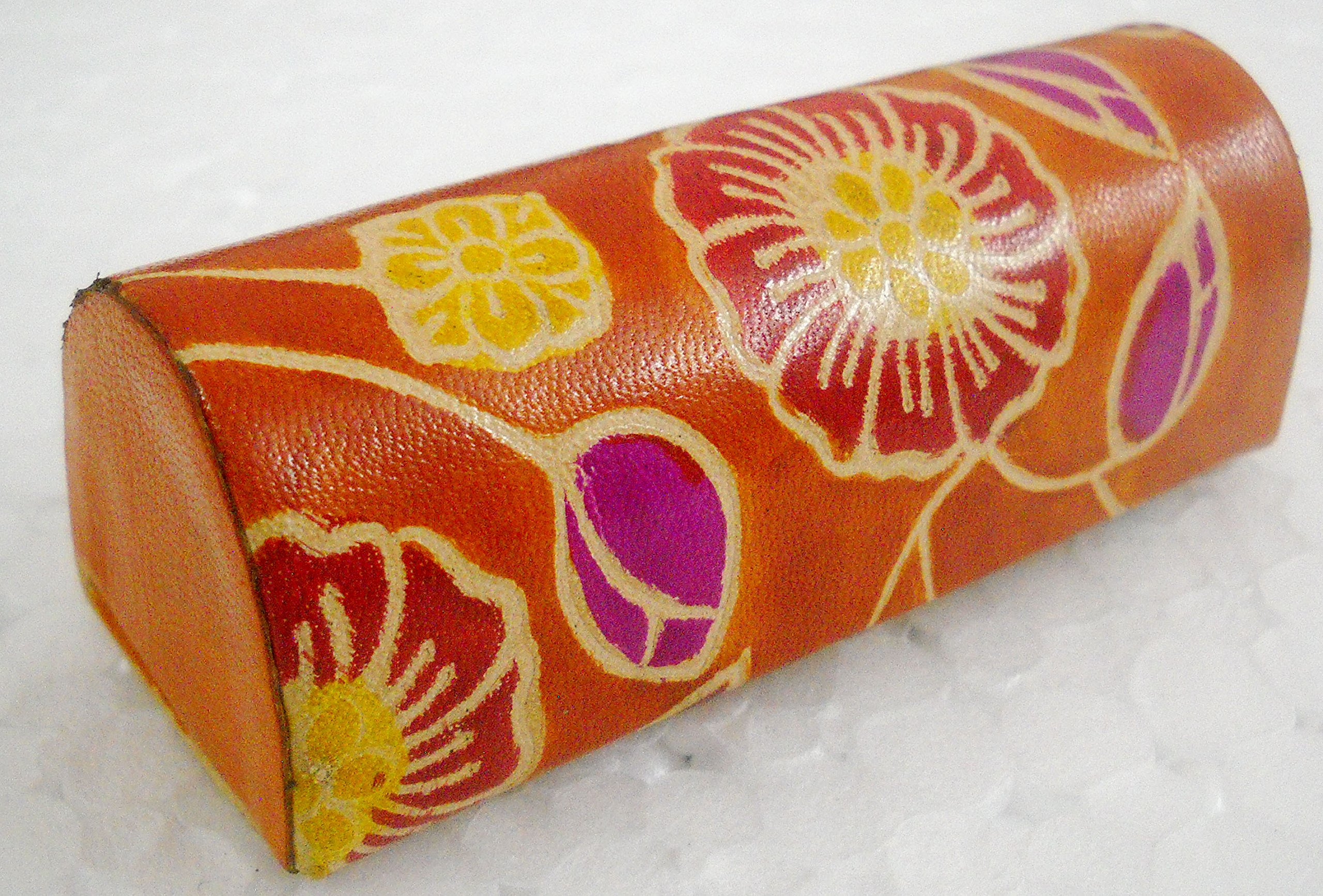 Women's Hand Embossed Colorful Floral Design Orange Lipstick case with Mirror-Shantiniketan Pure Leather