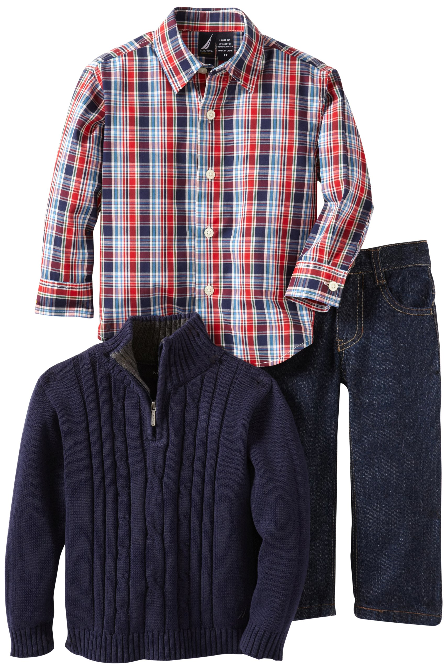 Nautica Sportswear Kids Little Boys' 3 Piece Solid Sweater Set, Peacoat, 2T