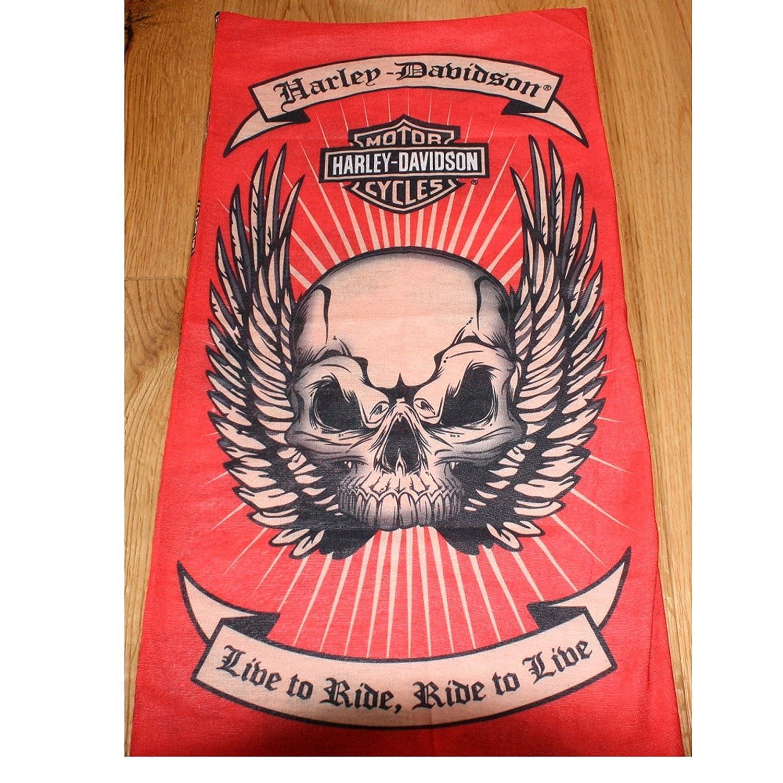 Rot Schwarz Weiß Harley Davidson Skull Multifunktional Tube Snood Schal