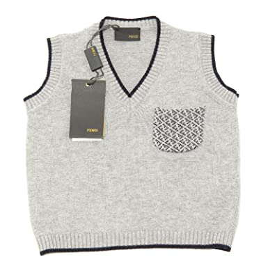 7047641d734d Fendi 6650G Smanicato Bimbo Grigio blu Maglione Cotone Sweater Kids   Amazon.fr  Vêtements et accessoires