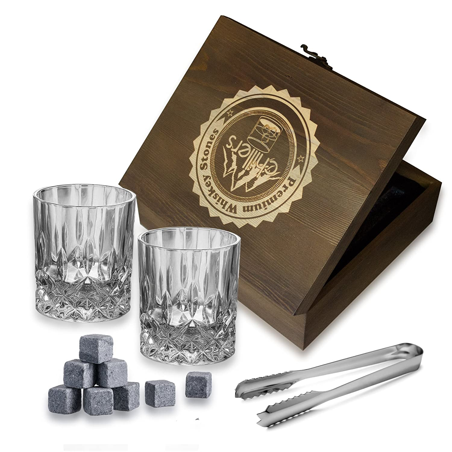 Whiskey Stones Gift Set - 8 Whiskey Stones (Reusable Ice Cubes or Chilling Rocks or Chilling Stones or On The Rocks Stones), 2-Crystal Whiskey Glasses, Tongs, Velvet Pouch in Elegant Wooden Gift Box