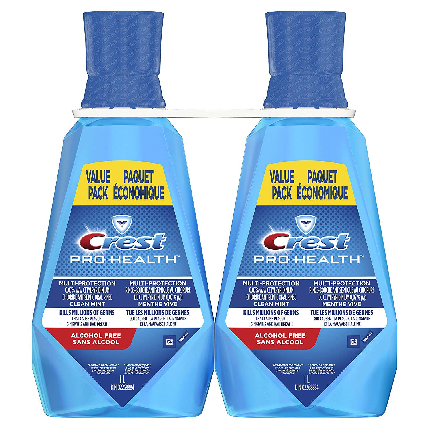 Crest Pro-Health Multi-Protection Mouthwash, Clean Mint, Pack of 2, 1 Liter Procter and Gamble