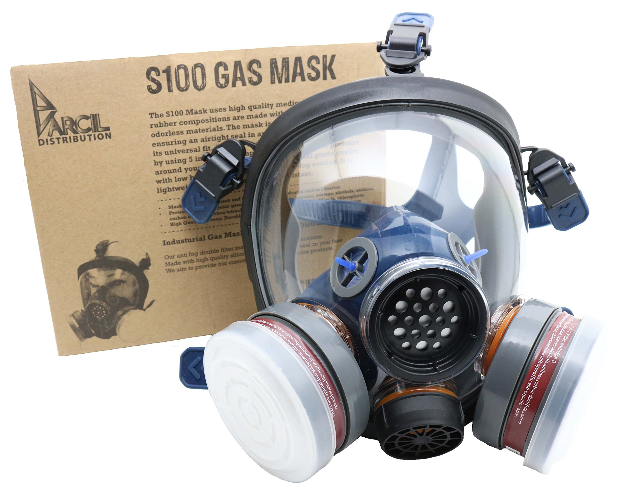 PD-100 Full Face Respirator by Parcil Distribution. 1 Year Factory Guarantee. Double Air Filter, Eye Protection, Gas Mask - Industrial Grade Quality by Parcil Distribution (Image #4)
