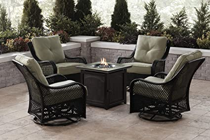 Amazon.com: Hanover ORL5PCFPSQ-GRN Orleans 5-Piece Fire Pit ...