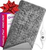 """XL Heating Pad - Electric Heating Pad for Moist and Dry Heat Therapy - Fast Neck/Shoulder/Back Pain Relief at Home - [12""""x24""""] GENIANI (Tabby Gray)"""