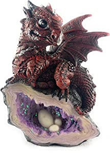 Aint It Nice Red Dragon Baby Rock Faux Geode Crystal Cavern Egg Nest Purple Sparkling Medieval Collectible Fantasy Figurine Statue Décor, 5 X 3.5 X 2 inches