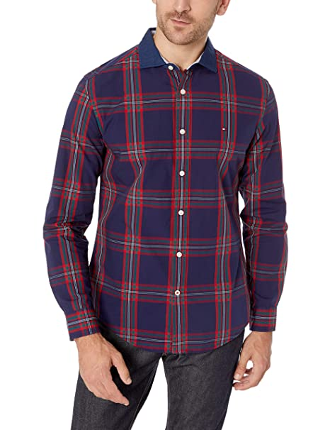 bfbfc6af Tommy Hilfiger Men's Vaga Plaid Long Sleeve Button Down Shirt -Evening Blue,  Small