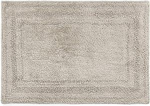 Chaps Home Camden 100% Ringspun Cotton Reversible Non-Slip Bathroom Rug, 21X34, Windsor Grey