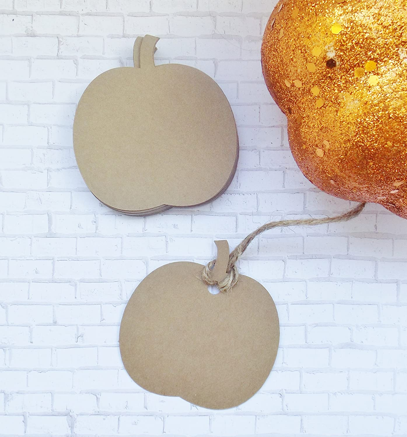 Kraft Pumpkin Tags with Twine - Gift Tags - Name Labels - Set of 50