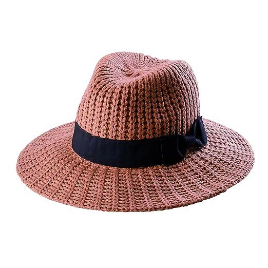 85a73230b31f4 San Diego Hat Company Women s Polyester Woven Yarn Stitch Fedora 3 Inch  Brim Grosgrain Bow Band