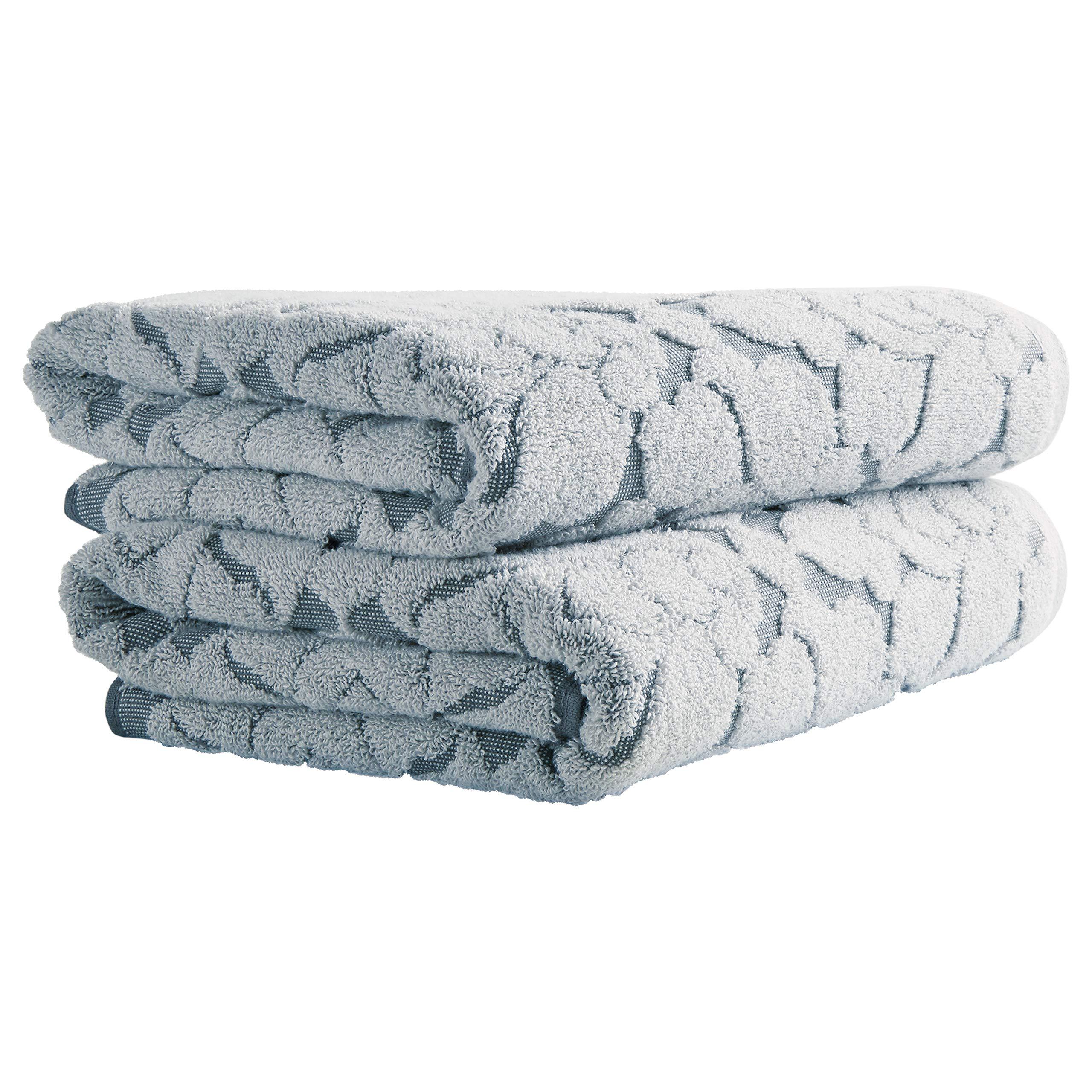 Stone & Beam Flora Jacquard Cotton Bath Towels, 2-Pack, Regatta