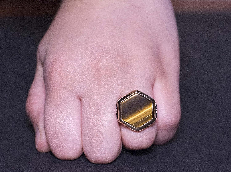 Sterling Silver Men Byzantine ring, tiger-eye natural Stone Men Ring ...