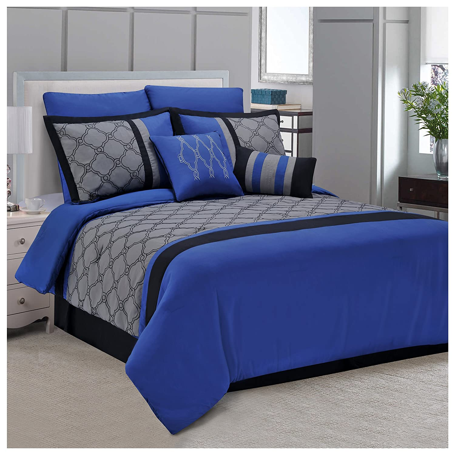 Superior Maxfield 8 Piece Embroidered Comforter Set Blue, Queen MAXFIELD 8PC QNBL
