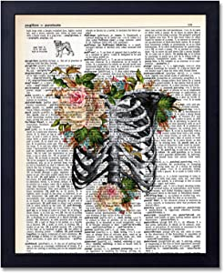 Organs & Flower Anatomy Dictionary Art Prints, Steampunk Medical Wall Art Goth Room Decor Gift for Office, Doctor's Office, Gift, Physician, Nurse, Unframed 8x10 inches