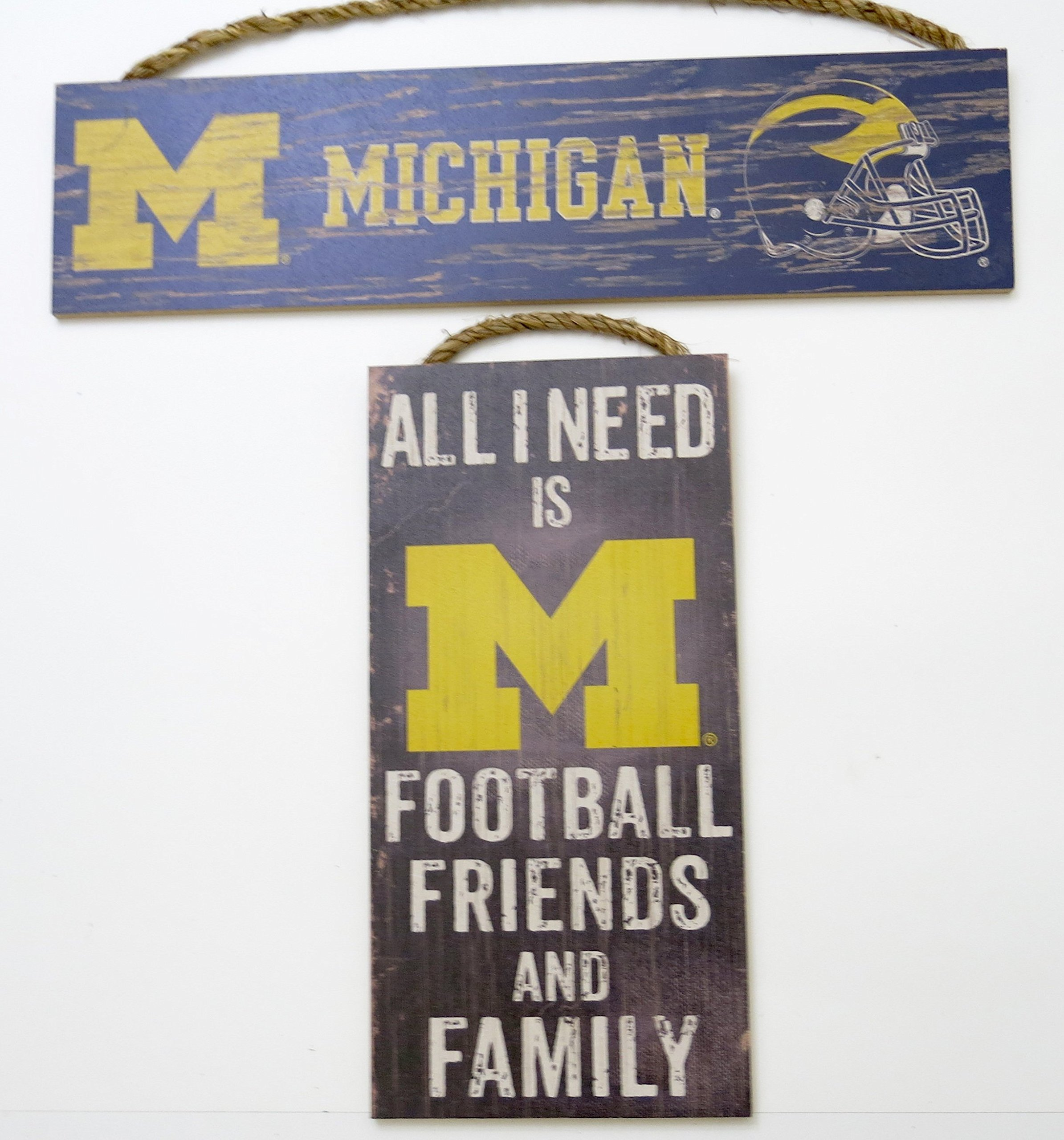 University of Michigan, wood sign wall decor,'' all need is football friends and family'', and long sign, 2 pieces set.