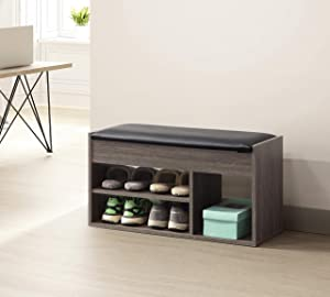 Weathered Grey Finish 2-Tier Shoes Bench Boot Organizing Bonded Leather Upholstered Storage Bench Shoe Rack Entryway with Hidden Compartment Under Seat by RAAMZO
