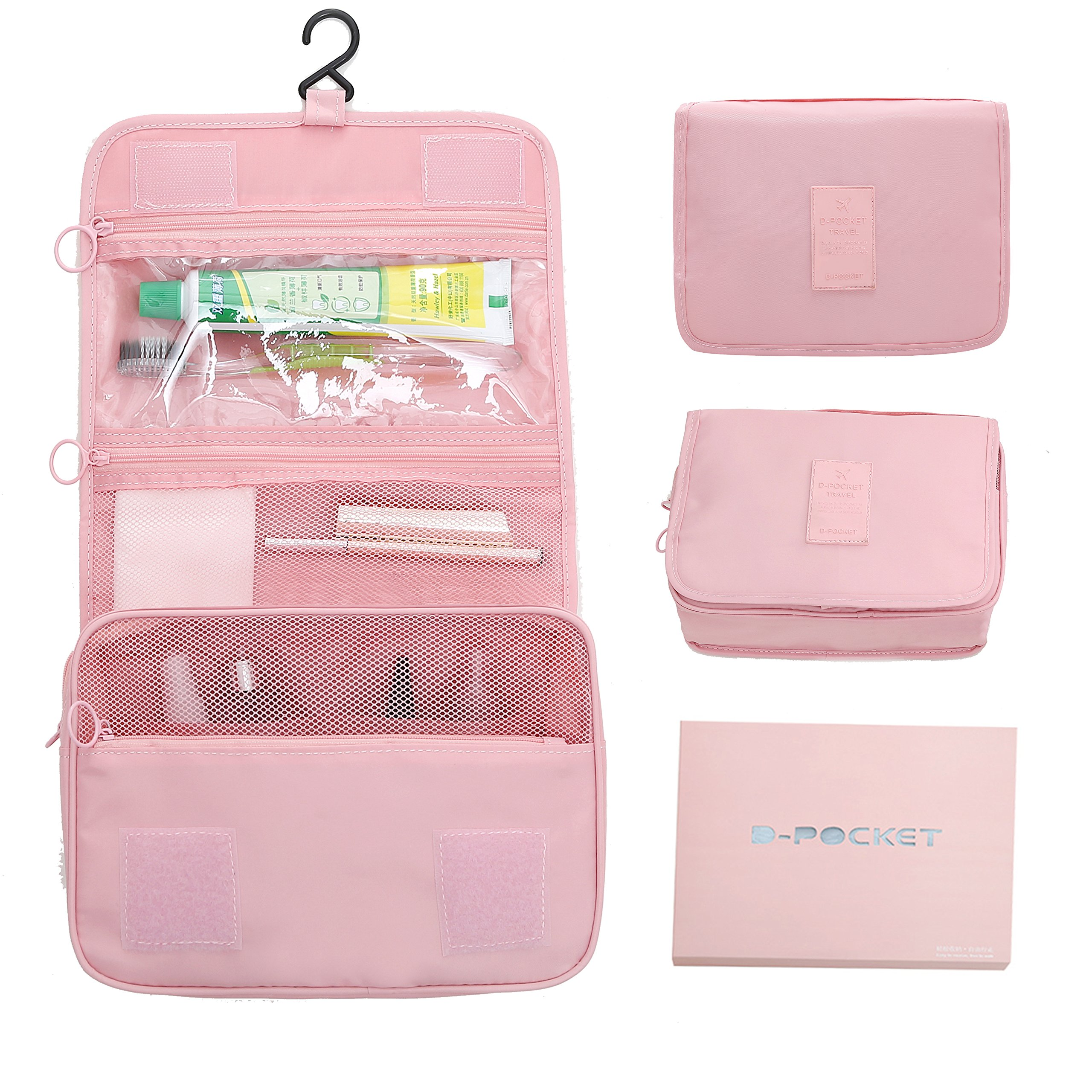 hanging cosmetic travel bag Portable Travel Makeup Cosmetic Bag waterproof travel bag makeup bag Men and women, old and young Christmas gift (pink)