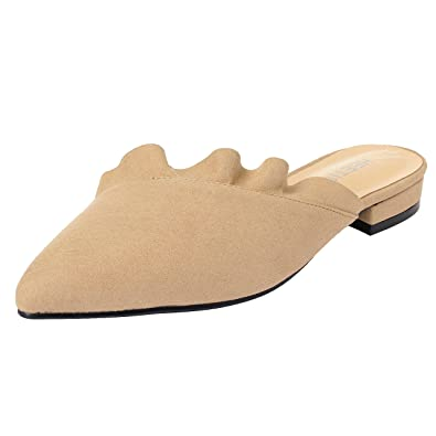 7a57b9acb6ad HEETIST Women s Haside Ruffle Trimmed Pointed Toe Backless Loafer Flat Mule  Shoes Suede Slip On Slippers