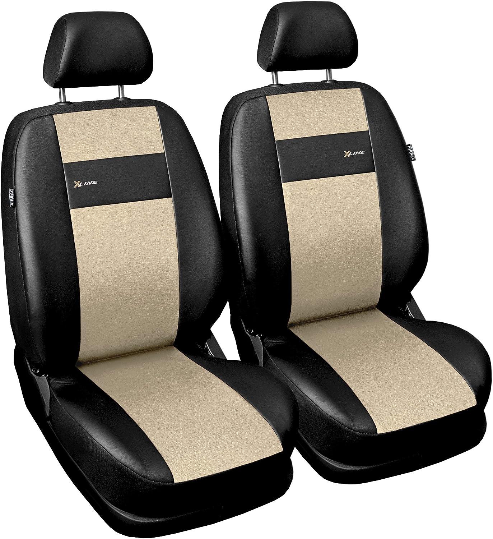 Gsc Sitzbezüge Auto Vordersitze Universal Autositzbezüge Schonbezüge Vorne Kunst Leder Mit Airbag System X Line Kompatibel Mit Dacia Dokker Auto