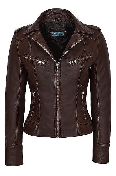 Rider Ladies 9823 MARRON NAPA Motociclista de estilo motocicleta Soft Real Nappa chaqueta de cuero: Amazon.es: Ropa y accesorios