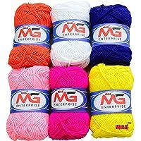 M.G Enterprise Wool Ball Mix 2 Hand Knitting Art Craft Soft Fingering Crochet Hook Yarn,Pack Of 6