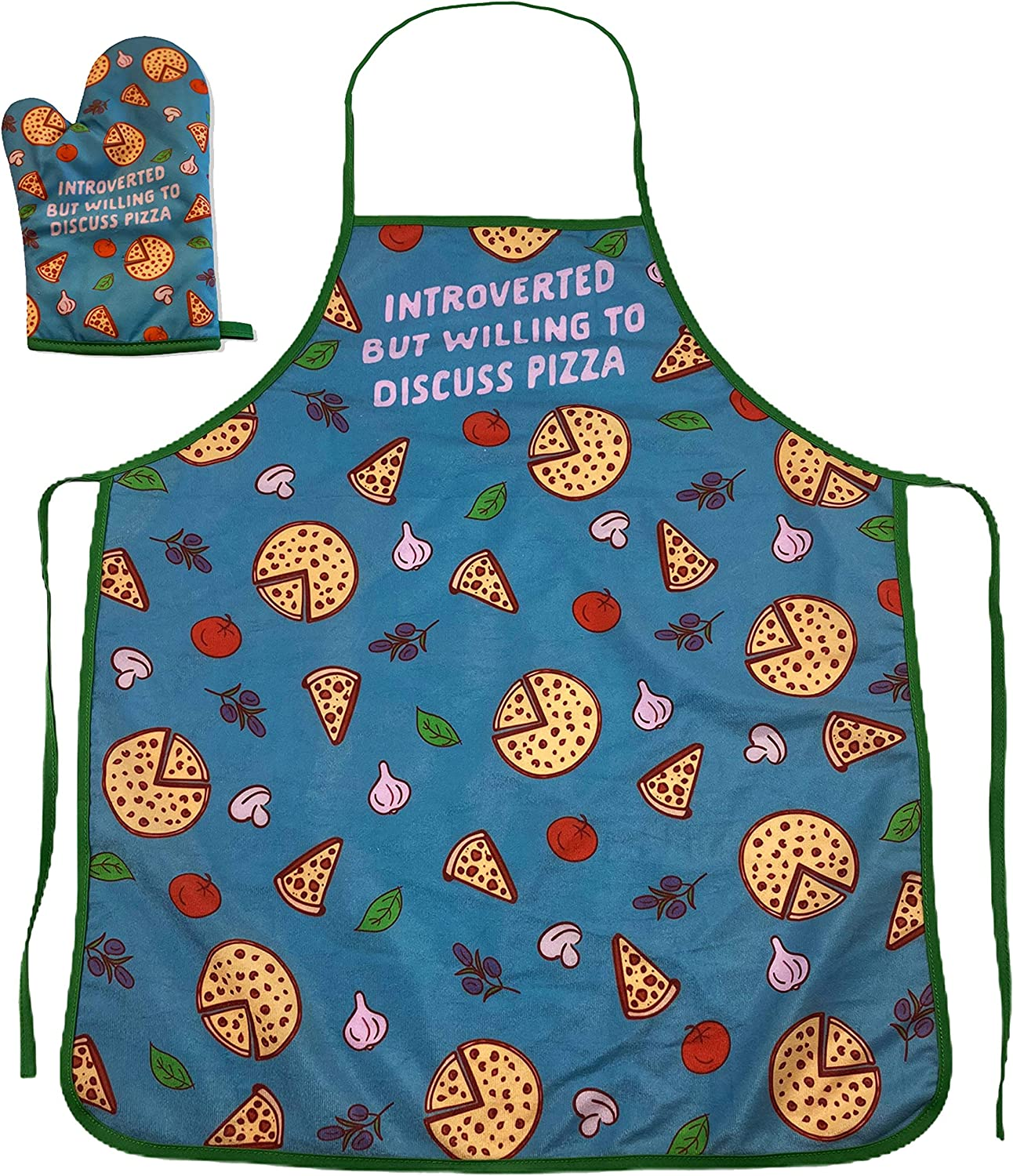 Crazy Dog T-Shirts Introverted But Willing to Discuss Pizza Funny Baking Cooking Graphic Kitchen Accessories (Oven Mitt + Apron)