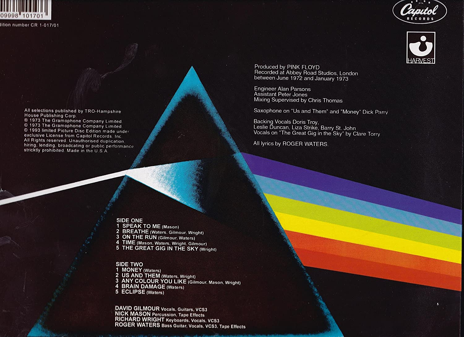 Pink Floyd - Dark Side Of The Moon - Picture Disc LP - 20th Anniversary  Edition