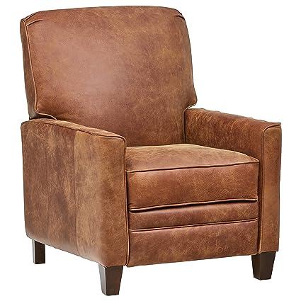 Fabulous Stone Beam Edmunds Traditional Leather Recliner 30W Saddle Brown Creativecarmelina Interior Chair Design Creativecarmelinacom