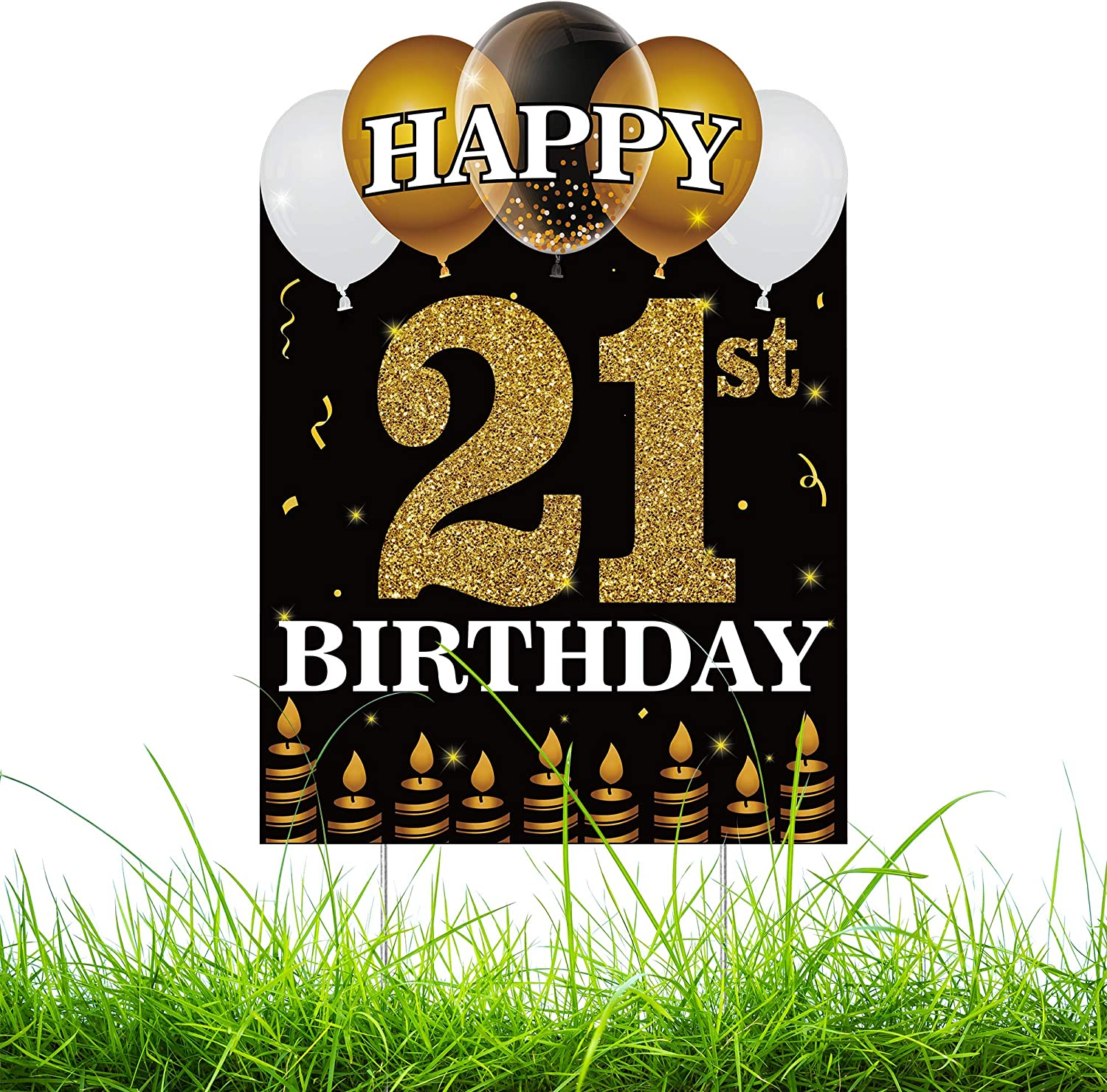 WATINC Happy 21st Birthday Yard Sign with Metal Stakes Double Sided Printing Large Waterproof Lawn Signs Gold White Balloons Black Outdoor Party Decorations for 21 Years Old Boys Girls 11.8 x 16.9 in