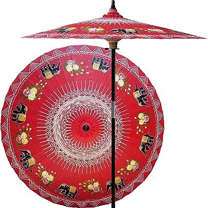 Amazon.com: 7 foot Tall pintada a mano Parasol de Patio ...
