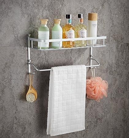 Wall Mounted Aluminum Bathroom Shelves with Towel Bar, Morden Double ...