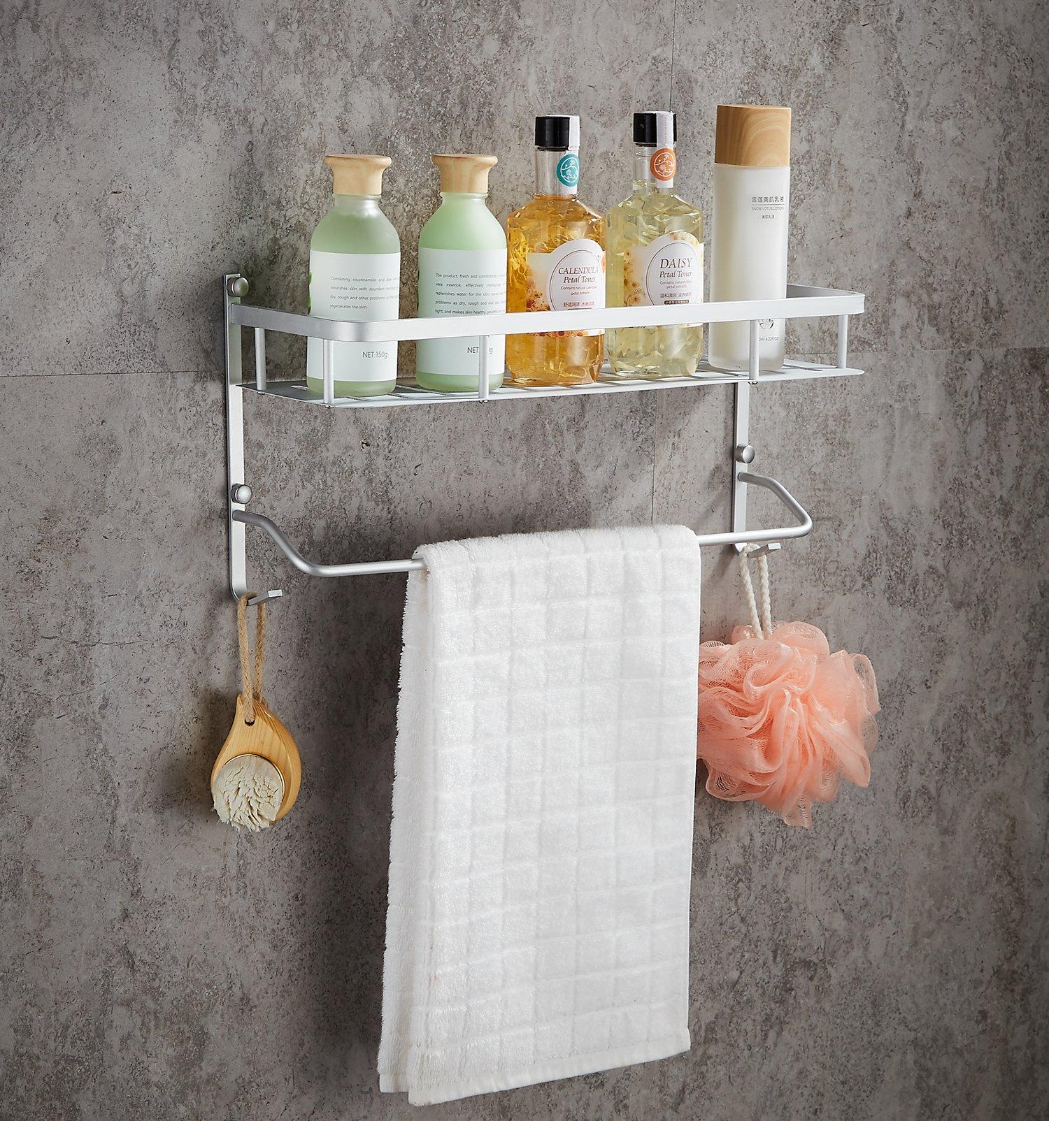 Wall Mounted Aluminum Bathroom Shelves with Towel Bar,Morden Double Deck Towel Rack,Lightweight,24 inch by Dynabit