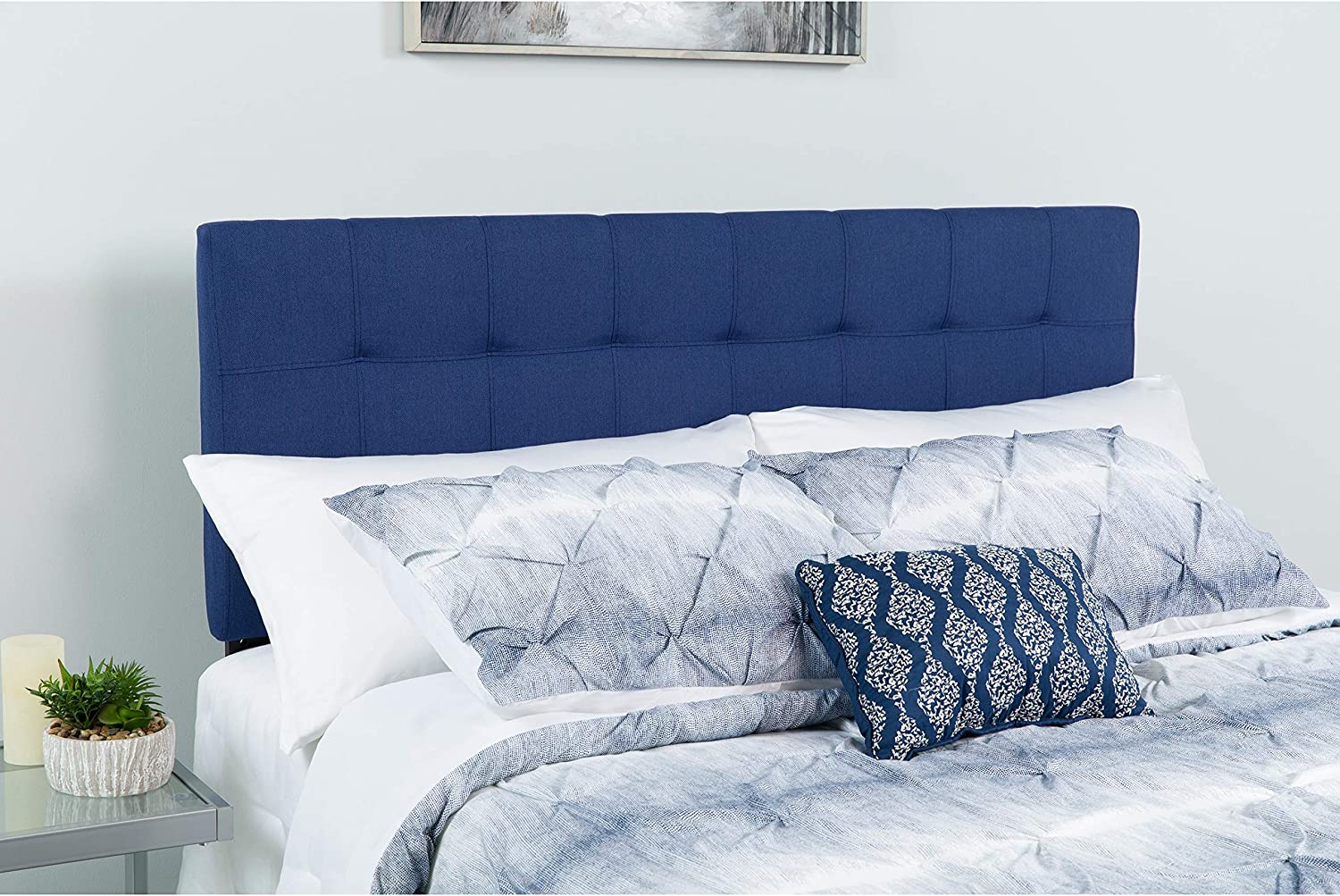 Flash Furniture Bedford Tufted Upholstered Queen Size Headboard in Navy Fabric