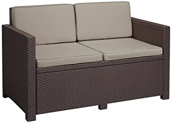 ALLIBERT Salon Victoria Canapé, Marron/Taupe, 129 x 63 x 77 cm ...