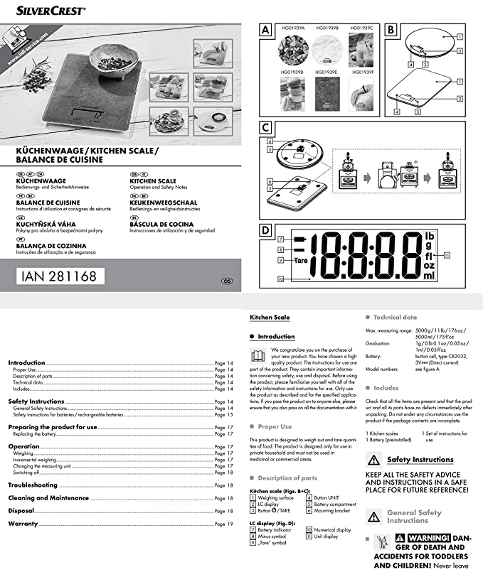 Buy SilverCrest Round Electronic Digital Kitchen Weighing ...