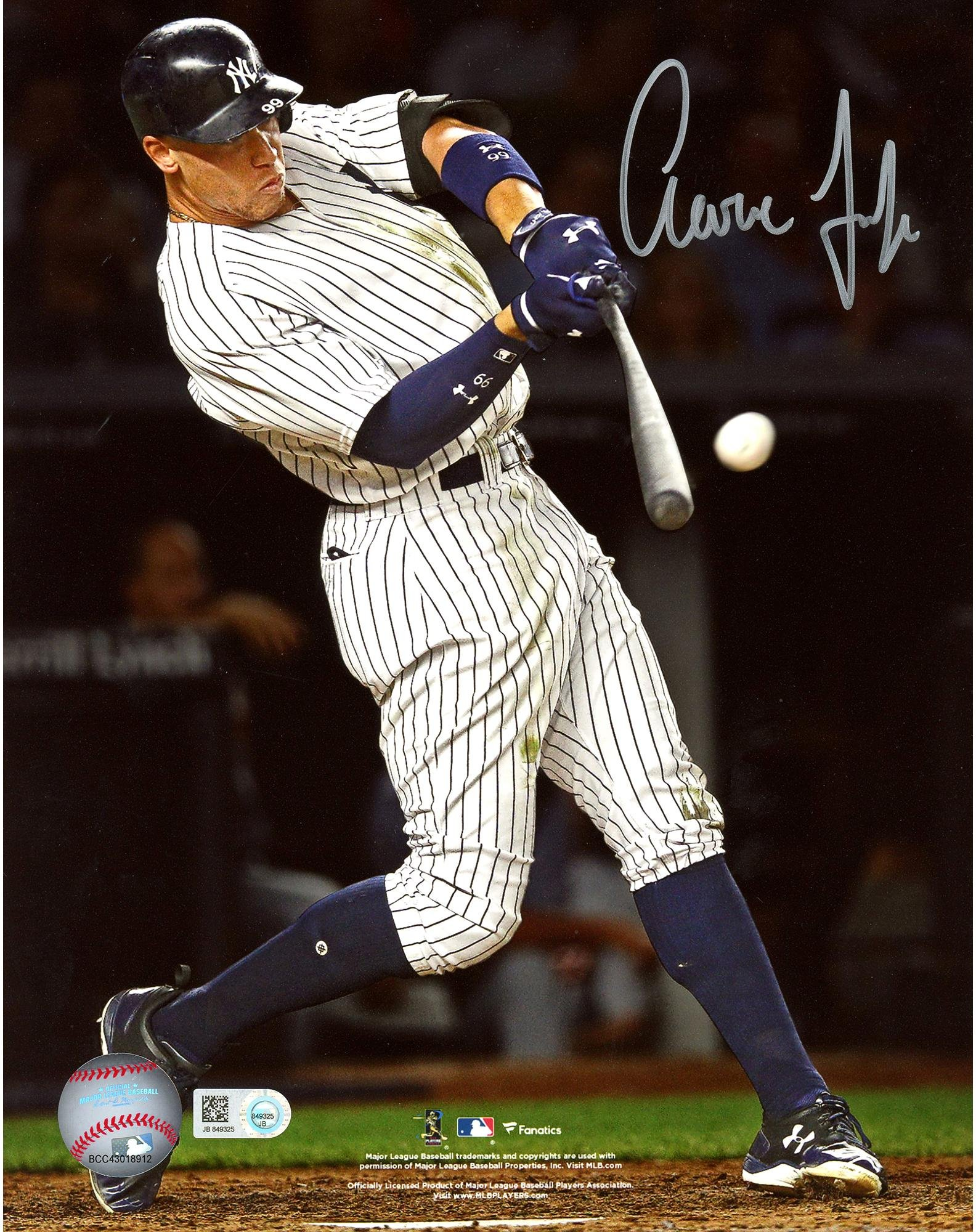 "Aaron Judge New York Yankees Autographed 8"" x 10"" Hitting Home Run Photograph Fanatics Authentic Certified"
