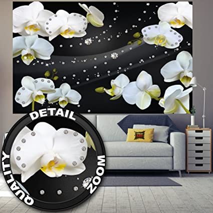 Foto tapiz Orquídea blanca mural con diamantes decoración mural flores de la orquídea modernas Phalaenopsis Flowers