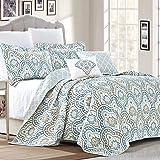Serenta Tivoli Ikat Design 5 Piece Teal Aqua Printed Prewashed Quilted Coverlet Bedspread Bed cover Summer Quilt Blanket…